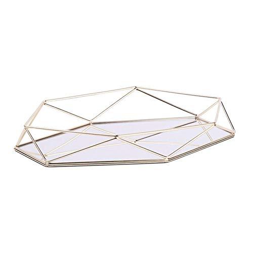 Vintage Spiegeltablett Gold Verspiegelt Platte Verspiegelt Deko Tablett Spiegel Tablett Polygon Dekotablett als Schminktisch Aufbewahrung Tablett Gold Dreidimensionales Ablagefach aus Eisen