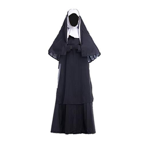 ULLAA Cosplay Disfraz Halloween Carnaval Ropa Iglesia Uniforme Vestido Monja