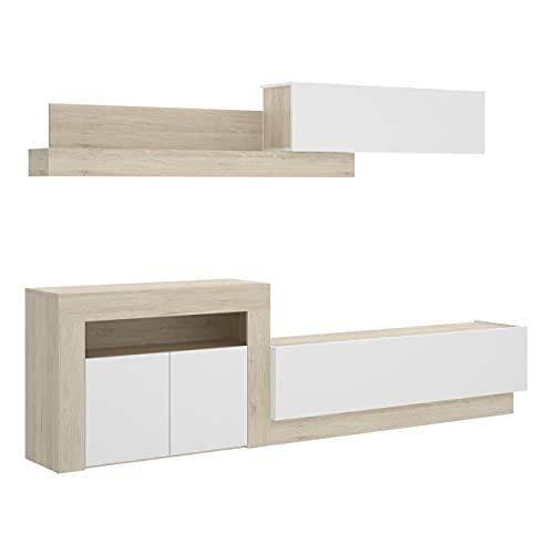 Homely - Mueble de salón Modular ENNA Color Blanco Brillo y Natural de 261 cm