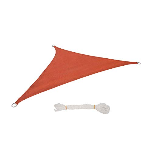 Lestarain Toldo Vela de Sombra de HDPE protección UV No Impermeable para Jardín Terraza,Camping,Jardín,ect,triángulo 3,6x3,6x5,1m Terracota