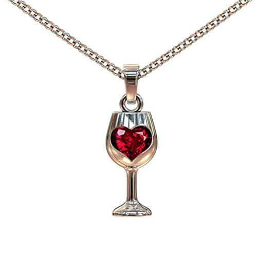 N/K PULABO Frauen Halskette Rotwein Becher Liebe Herz Anhänger Stilvoll und beliebt
