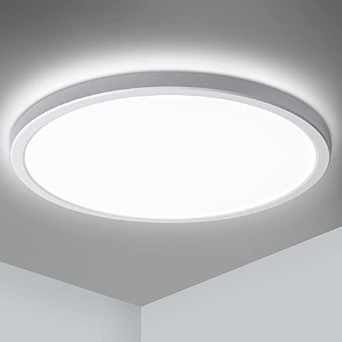 LED Deckenleuchte Ultraslim 2.5cm, Oeegoo 24W 2000LM LED Deckenlampe, Flimmerfreie Bürodeckenleuchte, LED Leuchte Hintergrundlicht, für Schlafzimmer Wohnzimmer Küche Flur Balkon Neutralweiß 4000K