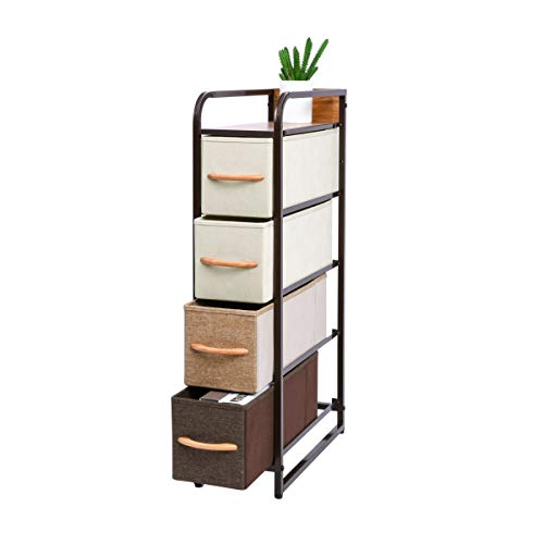 Kamiler 4-Drawer Dresser Storage Vertical, 4-Tier Organizer Tower Unit for Bedroom/Closets/Hallway/Entryway/Laundry Room, Sturdy Steel Frame, Wooden Top, Removable Fabric Bins
