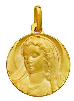 Virgen A La gorro para-Medalla religiosa-oro amarillo 18quilates-Diámetro: 18mm-www.diamants-perles.com