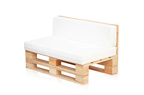 Conjunto Sofa DE PALETS + Set Cojines (Asiento + Respaldo) (120X80, Blanco Nautico)