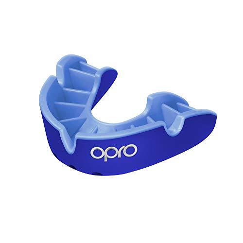 OPRO Protector Bucal Self-Fit Silver - para Rugby, Hockey, Lacrosse, fútbol Americano, Baloncesto y más - Fabricado en Reino Unido (Azul/Azul Claro, Junior)