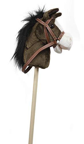 GERILEO Steckenpferd Spielzeug mit Sound - Plüschpferd - Verschiedene tolle Farben (Dunkelbraun mit schwarzer Mähne)