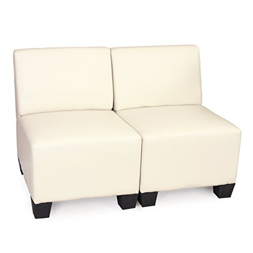 Sistema modulare Lione N71 salotto ecopelle divano 2 posti senza braccia ~ avorio