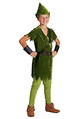Kids Peter Pan Costume with Hat, Shirt, Tights, Belt/Harness and Wrist Cuffs Medium