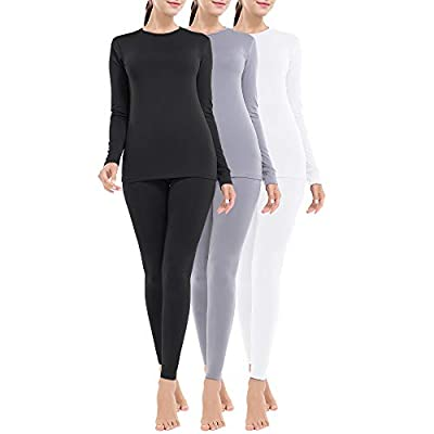 MANCYFIT Thermal Underwear for Women Long Johns Set Fleece Lined Ultra Soft 3 Pack Black/White/Light Gray XX-Large