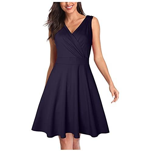 Damen Kleider Vintage Retro Abendkleider Elegante Kreuz V-Ausschnitt Cap Sleeves Partykleid Knielang A-Linie Sommerkleider Cocktailkleid