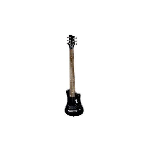 Hofner Shorty Guitar - Black Shorty Full Sized Neck Travel Electric Guitar w/Gigbag