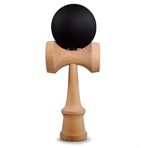 Ganzoo Kendama de madera de haya real, original de Japón - Juguetes de madera tradicionales para una destreza y coordinación efectivas, bola y taza portátiles Negro y madera.