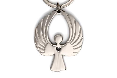 Angel Craft – Schutzengel Schlüsselanhänger – Wunderschönes Geschenk für Frauen - Eleganter Schutzengel Anhänger – Auto – Silver, Rosegold, Metall, Gold und Schwarz (Silver poliert)
