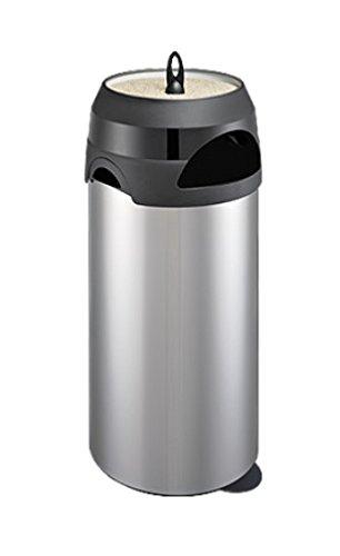 Meliconi - Cenicero para Exteriores con Papelera (60 L, Acero Inoxidable con Tapa de plástico y Metal)