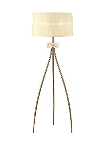 Inspired Mantra - Loewe - Lámpara de pie 3 luces E27, latón antiguo con pantalla crema