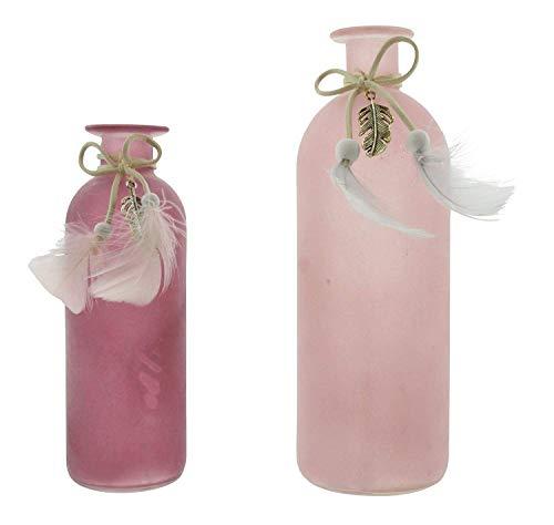 khevga Deko-Vase 2er Set Beerenfarbe mit Federn