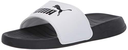 PUMA Unisex Popcat Slide Sandal, White Black, 11 M US Little Kid