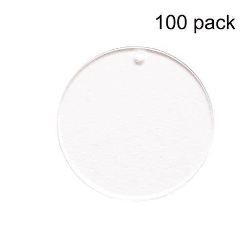 100 Pieces 2 Diameter Clear Transparent Acrylic Keychain Blanks Discs Circles Hole Precut with Protective Paper 1/8 Thick