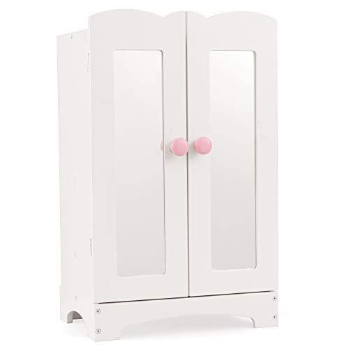 KidKraft KidKraft Wooden Lil' Doll Armoire with 6 Hangers, Furniture for 18-Inch Dolls - White ,Gift for Ages 3+