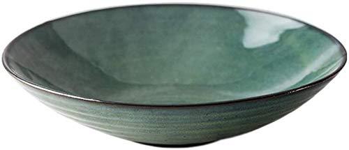 ZHEYANG Platos Llanos Platos Hondos Cereal de cerámica Sopa ENSALADERAS Tazón Ceramil Ensaladera Occidental Pasta Bowl de Hogares del Cuenco de arroz Plato de Sopa Tazón Vajilla Verde