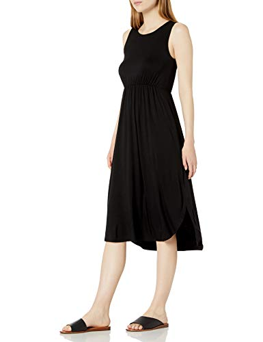 Amazon Brand - Daily Ritual Women's Jersey Sleeveless Gathered Dress, Black, XX-Large