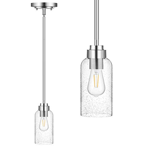 DEWENWILS Single Pendant Hanging Hood Light Indoor, Seed Glass Shade, Brushed Nickel Finish, 48 inch Adjustable Pipes for Flat and Slop Ceiling, Kitchen Island, Bedroom, Dining Hall, E26 Base Socket