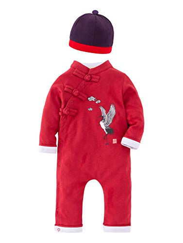 XM Nyan May's Baby Toddler Chinese de Stijl Rompers New Year Genre Jumpsuit, Red + Purple Hat, 3-6 Months