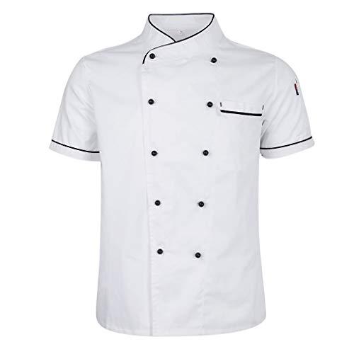 perfeclan Hotel Chef di Cucina Uniforme Manica Corta Giacca Camicia Fibbia a Doppio Petto Cameriere Cuoco Vestiti - bianca, M