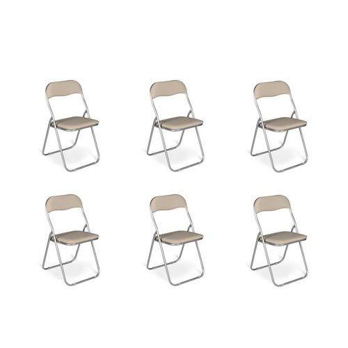 Esidra Pieghevoli Imbottite, Set di 6 Salvaspazio, Sedie Metallo e PVC, Poltroncine Richiudibili (Beige), UNICA