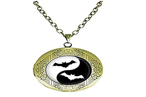 Ying Yang Bat Art - Collar con medallón de cristal para hombre y mujer