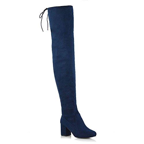 ESSEX GLAM Stivale Donna Lungo Thigh High sopra al Ginocchio Lace-Up Tacco Medio-Basso