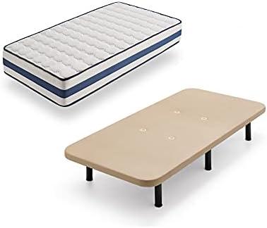HOGAR24 TZ40-Colchón Viscoelástico + Base tapizada con Patas, Medida 90x190 cm, Núcleo Alta Densidad Transpirable, Lado Verano-Invierno con Tejido 3D, Altura 22 cm