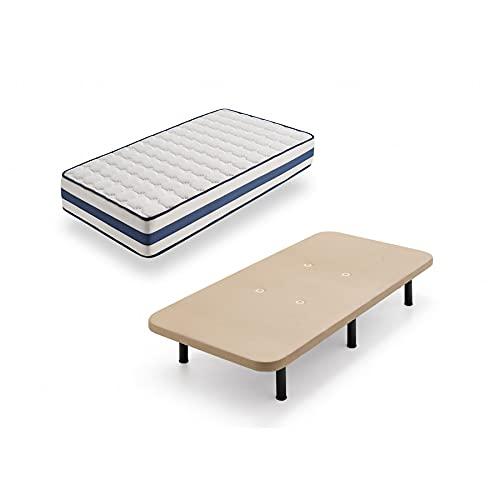 HOGAR24 TZ40-Colchón Viscoelástico + Base tapizada con Patas, Medida 105x190 cm, Núcleo Alta Densidad Transpirable, Lado Verano-Invierno con Tejido 3D, Altura 22 cm