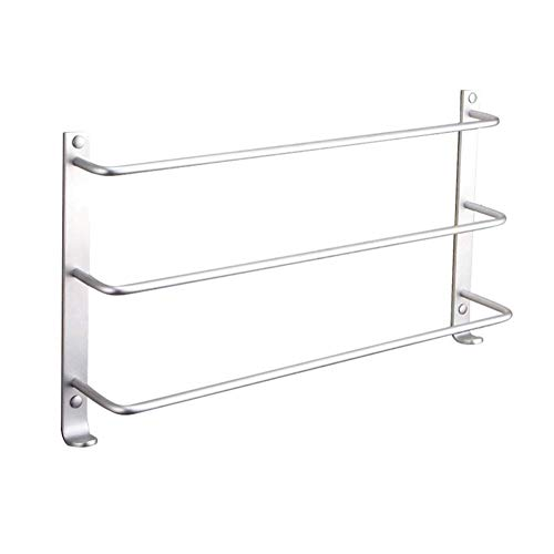 XWYWY Towel rack Bathroom Towel Rack, Punch Free Three-Tier Space Aluminum Wall Mounted Towel Holder Bath Towel Bar Rail With Hooks Suitable For Kitchen Bathroom Toilet Hotel Office (Size : 50cm)