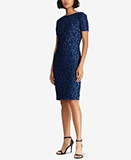 RALPH LAUREN Womens Navy Lace Short Sleeve Boat Neck Above The Knee Sheath Cocktail Dress US Size: 10