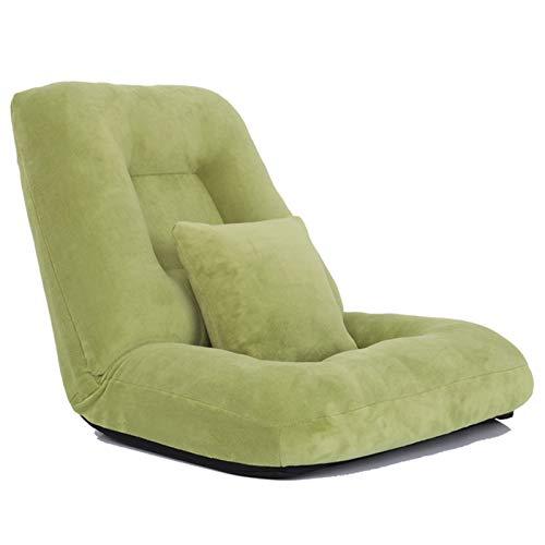 WHOJA Sillón Reclinable Ajuste de 14 velocidades Plegable Habitación Individual Silla Perezosa Tela Suave Cómodo y Transpirable Opcional Multicolor Sillon Relax (Color : Green)
