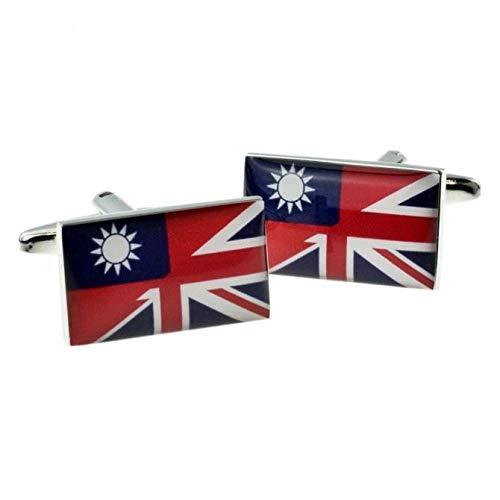 Gemengde vlag Taiwan en Union Jack manchetknopen met geschenkdoos en verzonden vanuit het Verenigd Koninkrijk
