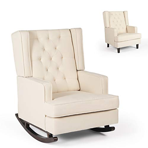AILEEKISS Modern Glider Rocker Chair Rocking Chair with Two Sets of Legs Mid Century Accent Chair Fabric Armchair Dual-use Design (Beige)