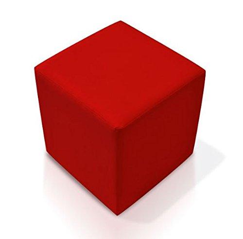 moebel-eins KUBUS Sitzwürfel Bandscheibenhocker Sitzhocker Fußhocker in rot 35x40x35 cm, rot