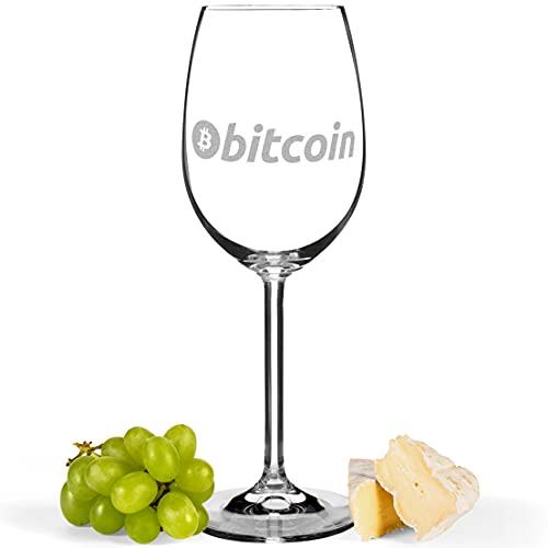 JUNIWORDS Weinglas mit Gravur, Bitcoin Logo Symbol (1000273), Weißweinglas