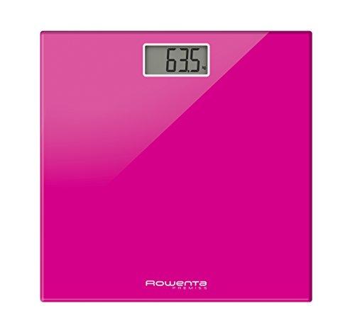 Rowenta BS1063 Premiss - Báscula digital con plato de cristal, rosa, lcd