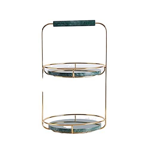 Marble Shelf/Bathroom Countertop Shelf/Double Stainless Steel Shelf/Cosmetic Shelf/Jewelry Tray Storage Box/Kitchen Dessert Table/Decorative Marble Dressing Tray/Emerald Green