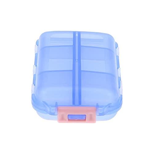 WWWL Pastillero Travel Conveniente Medicina Píldoras Píldoras 12 Gridos Píldoras Dispensador Píldora Organizador Tableta Pillbox Caja Contenedor Divisor Drug (Color : Blue)