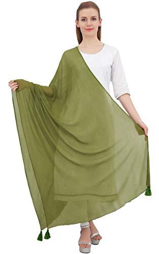 Phagun Ansatz-Verpackungs-Chiffon Tassel Sommer Dupatta Frauen lange Stola Schal-Grün