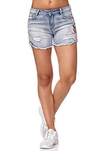 Femmes Jeans Shorts Hot Pants Fleurs Broderie D2349, Couleurs:Bleu, Taille:34