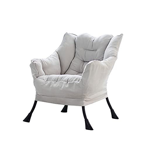 Homeflow Off-White Accent Fabric Armchair | Stylish Contemporary Design | Great for Any Room | Extra Large Cushions for Comfort | Durable Steel Frame to Support up to 400 Pounds | Two Side Pockets
