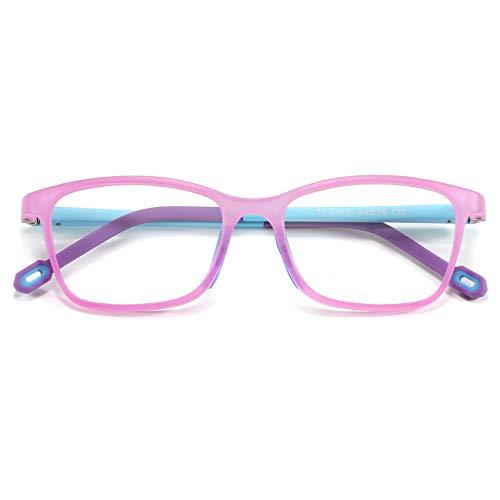 MARIDA Kids Blue Light Glasses, Square Flexible TR90 Frame, Anti Blue Light Anti Eyestrain Anti Glare Anti UV Age 4-10 Purple