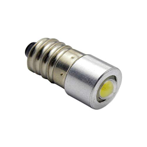 Ruiandsion 1 ampoule LED E10 CC 3–18 V 1 W 6000 K Blanc 200 lm COB LED pour lampe de poche, lampe de poche, lampe de poche, lampe de poche, lampe de poche, terre négative