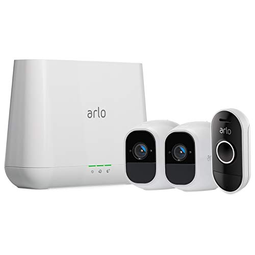 Arlo Pro 2 - Wireless Home Security Camera System with Siren | Rechargeable, Night vision, Indoor/Outdoor, 1080p, 2-Way Audio, Wall Mount | Cloud Storage | 2 camera kit (VMS4230P) w/ Doorbell